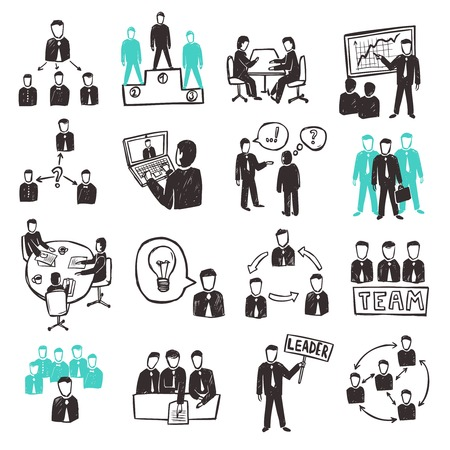Illustration for Teamwork icons set with sketch business people discussion organization and partnership scenes isolated vector illustration - Royalty Free Image