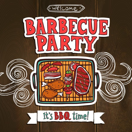 Illustration for Bbq grill party poster with sketch meat and shaslick food vector illustration - Royalty Free Image