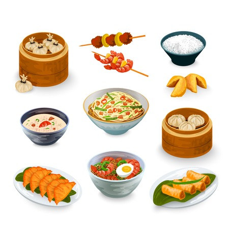 Illustration pour Asian food decorative icons set with fortune cookies isolated vector illustration - image libre de droit