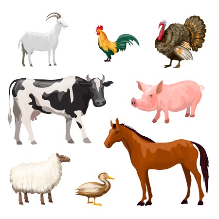 Photo pour Farm animals decorative icons set with cow goose pig horse isolated vector illustration - image libre de droit