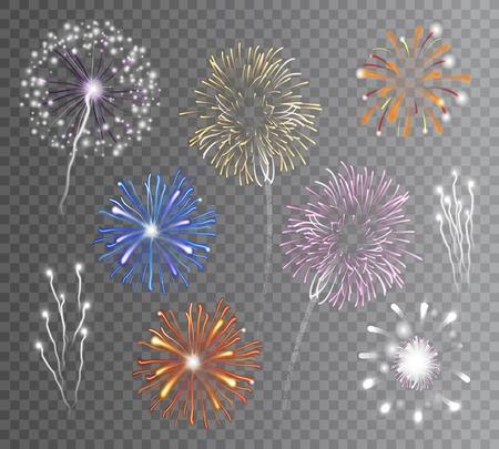 Ilustración de Realistic carnival multicolored firework explodes on transparent background isolated vector illustration - Imagen libre de derechos