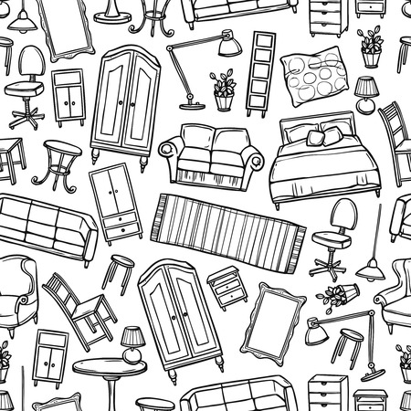Illustration pour Furniture hand drawn seamless pattern with modern and classic home accessories vector illustration - image libre de droit