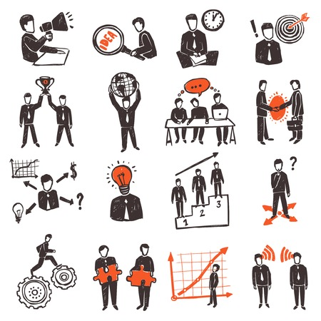 Illustration pour Meeting icon set with hand drawn business people characters set isolated vector illustration - image libre de droit