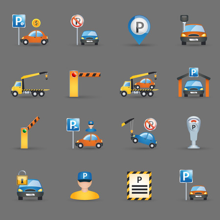 Illustration pour Parking lot signs and automatic access control gates and barriers pictograms collection flat abstract isolated vector illustration - image libre de droit