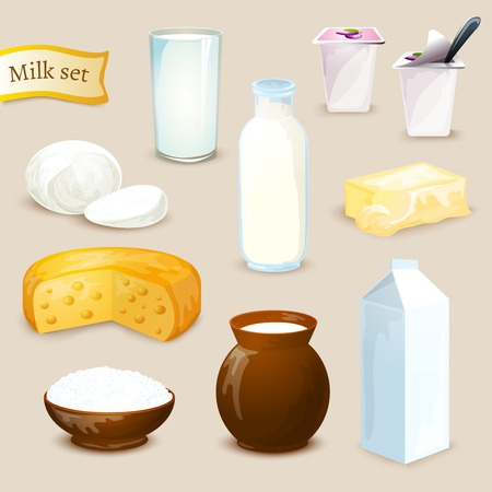 Milk food and drink products decorative icons set with yogurt cheese butter isolated vector illustration