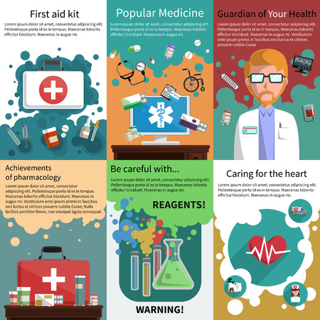 Illustration pour Various medicine pharmacy and healthcare subjects mini poster multicolored set isolated vector illustration - image libre de droit