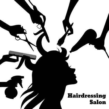 Illustration pour Beauty salon concept with female profile silhouette and hairdresser hands with accessories vector illustration - image libre de droit