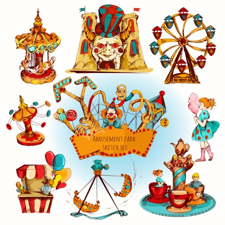 Illustration pour Amusement kids entertainment park decorative icons colored set isolated vector illustration - image libre de droit