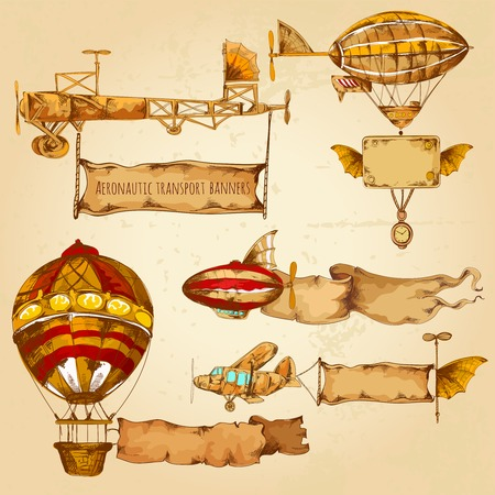 Illustration pour Old style airships with advertising banners hand drawn set isolated vector illustration - image libre de droit