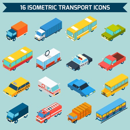 Photo for Isometric public city transport 3d icons set isolated vector illustration - Royalty Free Image