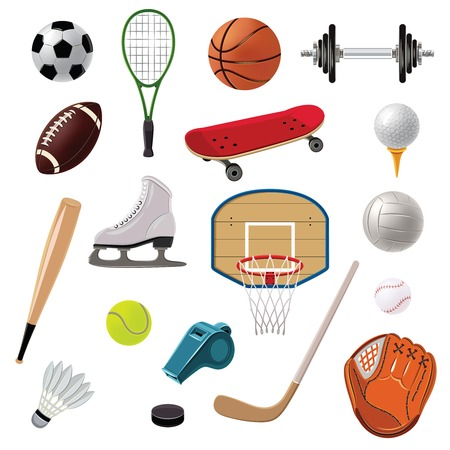 Illustration for Sports equipment decorative icons set with game balls rackets and accessories isolated vector illustration - Royalty Free Image