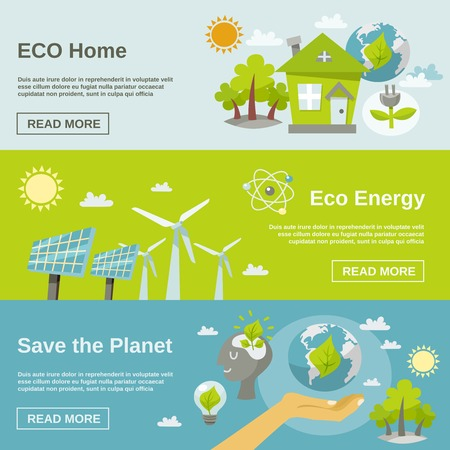Illustration pour Eco energy horizontal banner set with green home planet flat elements isolated vector illustration - image libre de droit