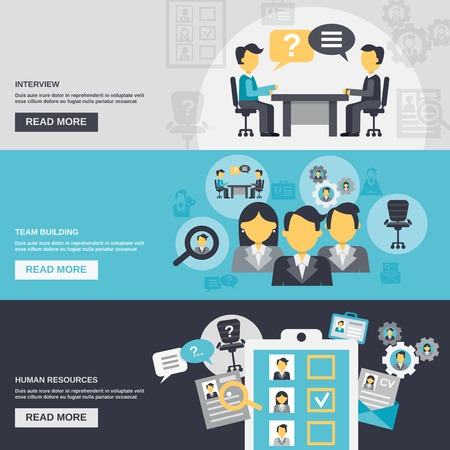 Illustration pour Human resources horizontal banner set with interview team building elements isolated vector illustration - image libre de droit
