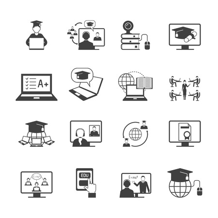 Ilustración de Online education video learning digital graduation icon black set isolated vector illustration - Imagen libre de derechos