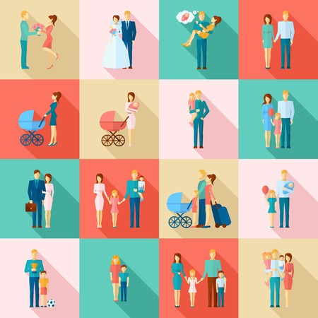 Photo pour Family flat icons set with married couples parents and children isolated vector illustration - image libre de droit
