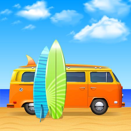 Illustration pour Retro bus with surf boards on summer sea background vector illustration - image libre de droit