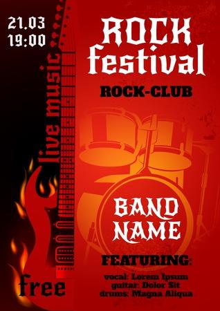 Illustration pour Rock music group concert or festival poster with burning guitar and drums vector illustration - image libre de droit