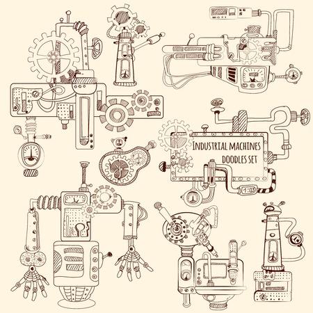Illustration pour Industrial machines engines and robots doodles set isolated vector illustration - image libre de droit