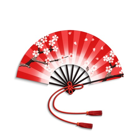 Realistic japanese folding fan with sakura flowers ornament isolated on white background vector illustration
