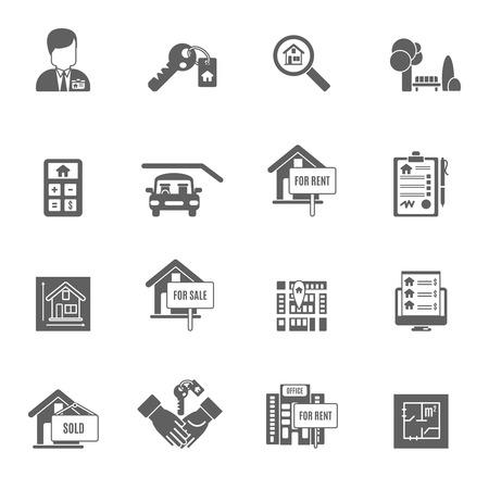 Illustration pour Real estate apartment sale and rent black icons set isolated vector illustration - image libre de droit