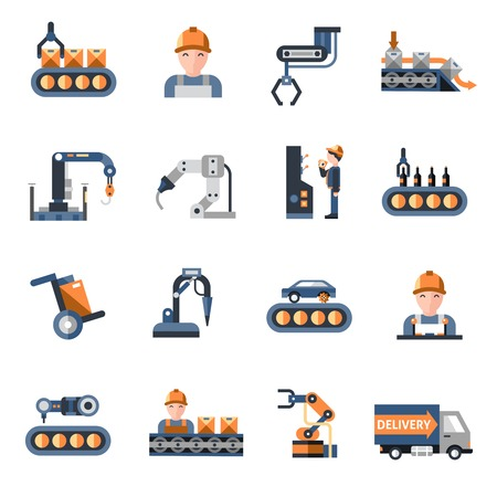 Illustration pour Production line industrial factory manufacturing process icons set isolated vector illustration - image libre de droit