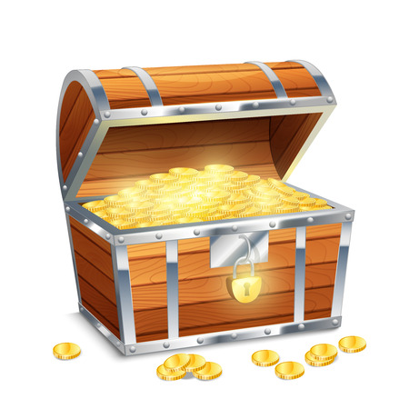 Illustration pour Realistic old style pirate treasure chest with golden coins isolated on white background vector illustration - image libre de droit
