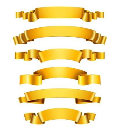 Illustration pour Realistic 3d golden glossy decorative congratulation ribbons set isolated vector illustration - image libre de droit