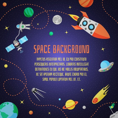 Illustration pour Space cartoon background with rocket spaceship stars and planet vector illustration - image libre de droit