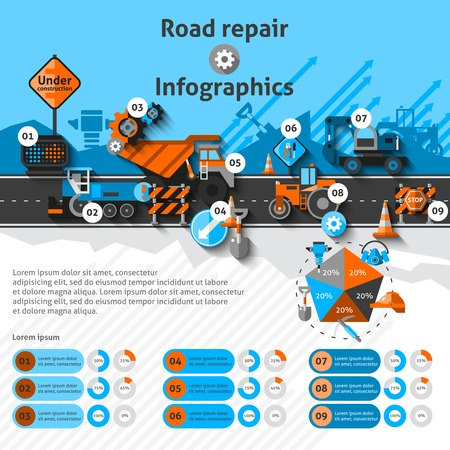 Illustration pour Road repair infographics set with construction machines and charts vector illustration - image libre de droit
