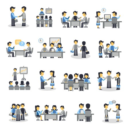Illustration pour Meeting icons flat set with business people project teamwork symbols isolated vector illustration - image libre de droit