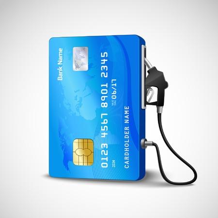 Ilustración de Realistic credit with fuel hose gas station concept vector illustration - Imagen libre de derechos