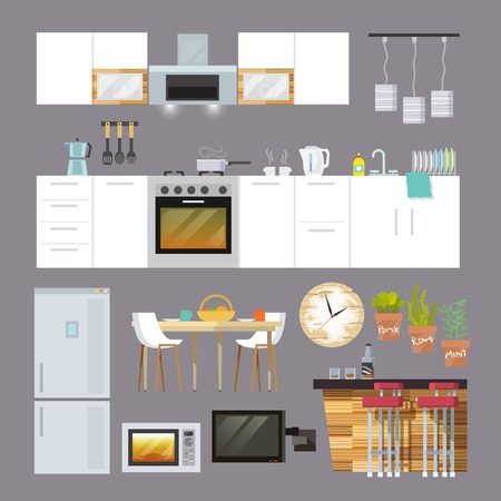 Illustration pour Kitchen interior and furniture decorative icons flat set isolated vector illustration - image libre de droit