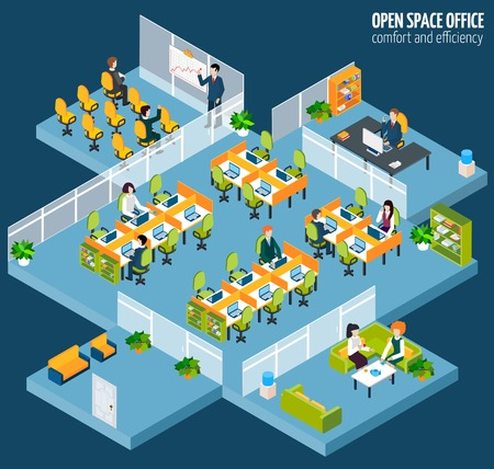 Photo pour Open space office with isometric business company interior and people vector illustration - image libre de droit