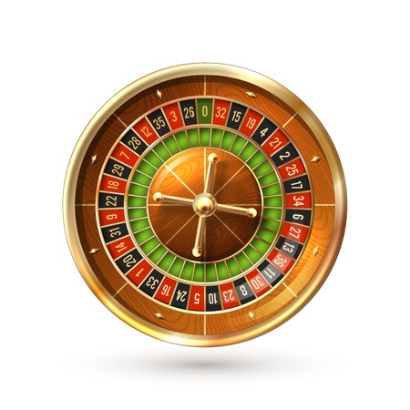 Illustration pour Realistic casino gambling roulette wheel isolated on white background vector illustration - image libre de droit