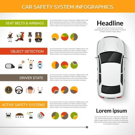 Illustration pour Car safety driver condition control system infographics set with charts vector illustration - image libre de droit