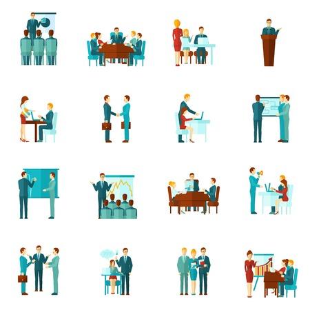 Ilustración de Business training conference and presentation flat icons set isolated vector illustration - Imagen libre de derechos