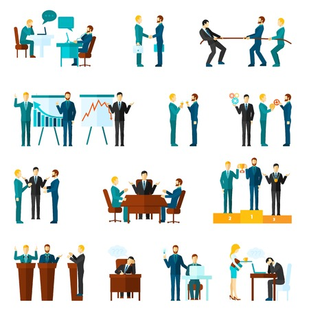 Illustration pour Business collaboration teamwork and agreement flat icons set isolated vector illustration - image libre de droit