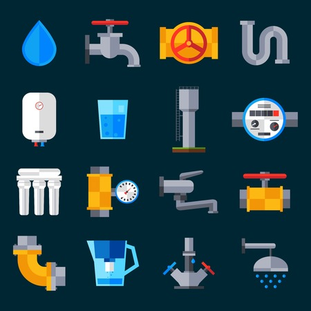 Illustration pour Water supply icons set with bathroom sink and shower equipment isolated vector illustration - image libre de droit