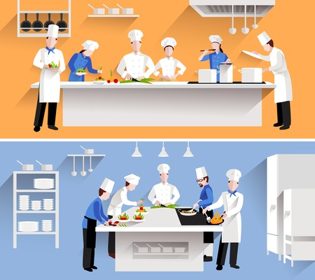 Illustration pour Cooking process with chef figures at the table in restaurant kitchen interior isolated vector illustration - image libre de droit