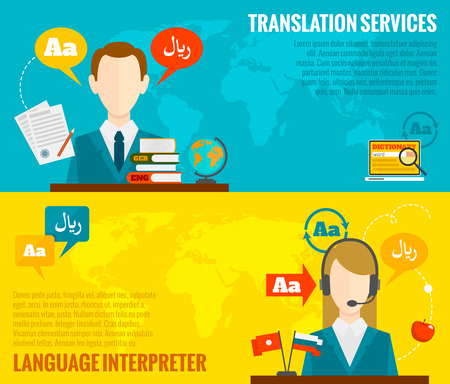 Illustration pour Face to face synchronic translation services and international court legal interpreting flat banners set abstract vector illustration - image libre de droit