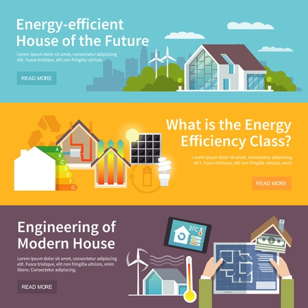 Illustration pour Energy saving house horizontal banner set with temperature control system elements isolated vector illustration - image libre de droit