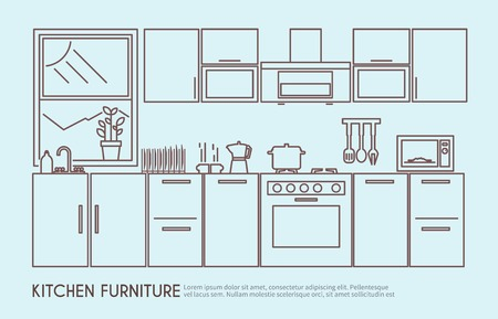 Illustration pour Modern kitchen furniture interior design with utensils and decor outline vector illustration - image libre de droit