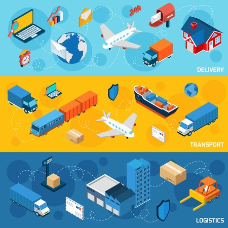 Foto de Logistics banner horizontal set with delivery and transport isometric elements isolated vector illustration - Imagen libre de derechos