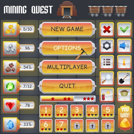 Illustration pour Mining treasure hunt game menu interface with cartoon treasure symbols vector illustration - image libre de droit