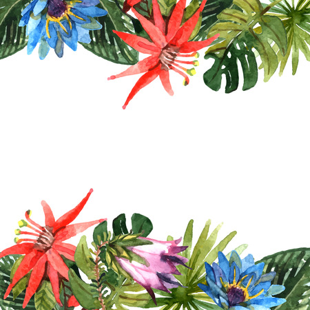 Illustration pour Tropical leaves and exotic flowers branches watercolor border vector illustration - image libre de droit