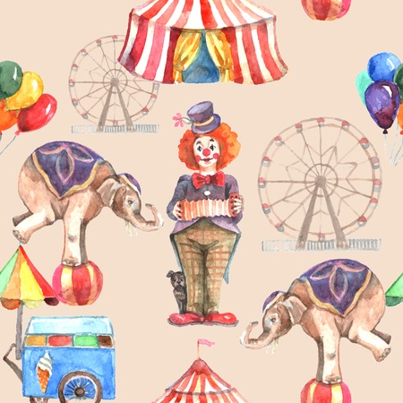 Illustration pour Circus seamless pattern with balloons animals and entertainment tent vector illustration - image libre de droit
