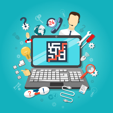 Illustration pour Remote computer support concept with setup cable connections questions and answers symbols vector illustration - image libre de droit