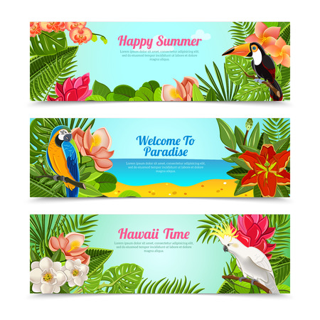 Illustration pour Happy time hawaii islands summer vacation horizontal posters set with tropical plants flowers abstract  isolated vector illustration - image libre de droit