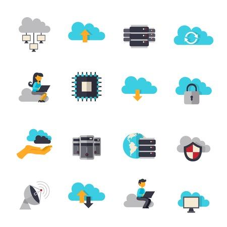 Illustration pour Cloud computing web technologies flat icons set isolated vector illustration - image libre de droit