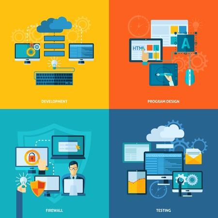 Illustration pour Program development design concept set with firewall and testing flat icons isolated vector illustration - image libre de droit